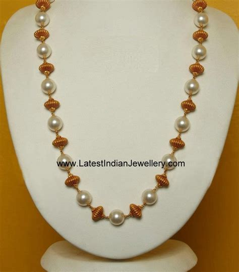 bead and chain necklace designs simple pearl and gold chain indian