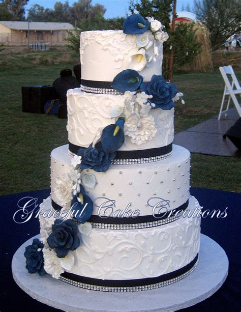 white butter wedding cake with navy blue rib flickr