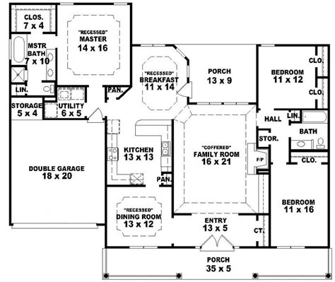 3 bedroom house plans one story 654233 one story 3 bedroom 2 bath southern country