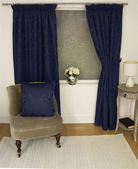 navy damask curtains jacquard floral damask navy blue lined pencil pleat