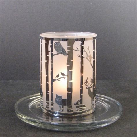 stylys glass tealight candle holder deer owl