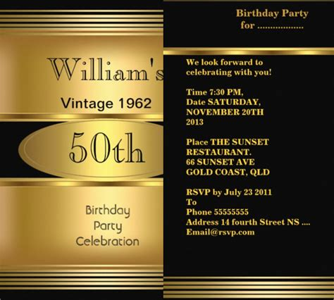 masculine card template 45 50th birthday invitation templates free sle