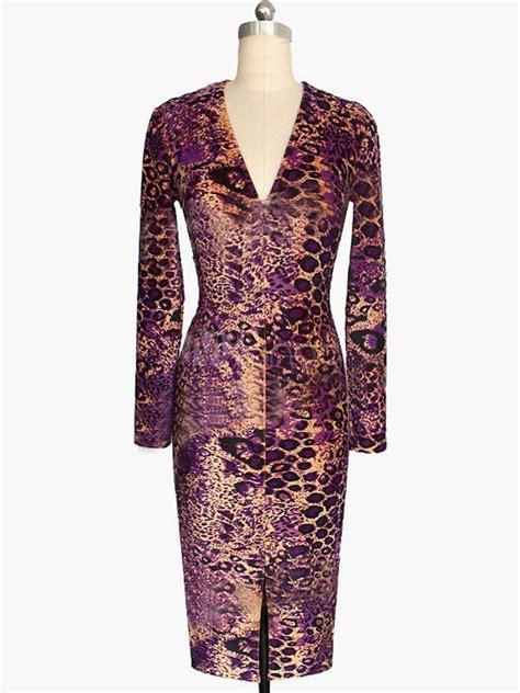 Diskon L 850 Leopard Costume robe bodycon col v 224 motif l 233 opard poitrine ouverte