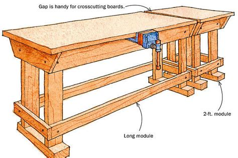 modular work bench modular workbench increases capacity finewoodworking