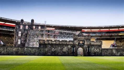 edinburgh tattoo westpac stadium replica edinburgh castle set up inside westpac stadium
