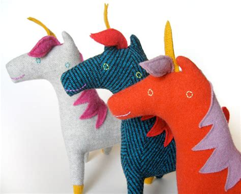 Handmade Stuffed Toys - handmade plush unicorn felted recycled stuffed toys