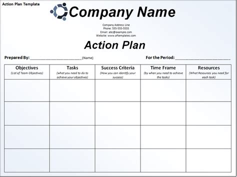 business action plan template free download karen s blog