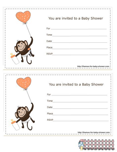 monkey templates for baby shower invites free free printable monkey baby shower invitations theruntime com