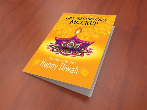 greeting card mockup free psd template psd