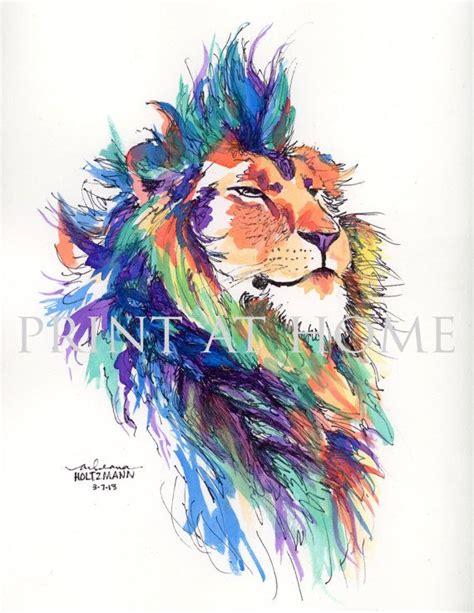 watercolor tattoo lion colorful watercolor quot pride quot no longer available