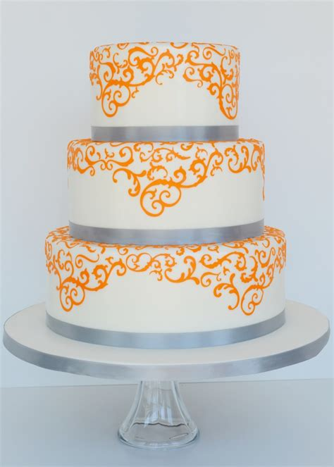 Hochzeitstorte Orange by Orange And Grey Wedding Cake Cakecentral