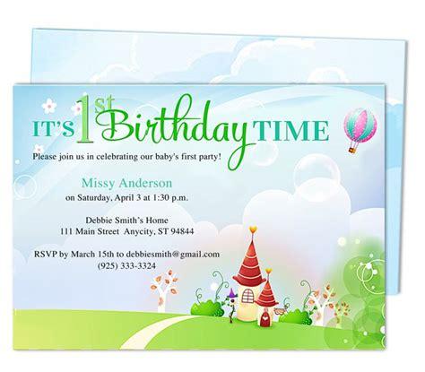 landscape birthday card template kiddie landscape 1st birthday invitation templates
