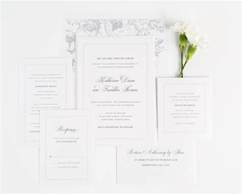 Simple Wedding Stationery by Simple And Classic Wedding Invitations In Dove Gray