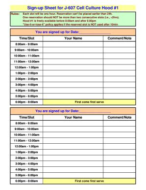 2 Printable Sign Up Sheet Pdf Forms And Templates Fillable Sles In Pdf Word To Download Time Slot Sign Up Sheet Template
