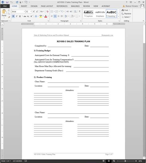 Sales Training Plan Template Sales Coaching Template