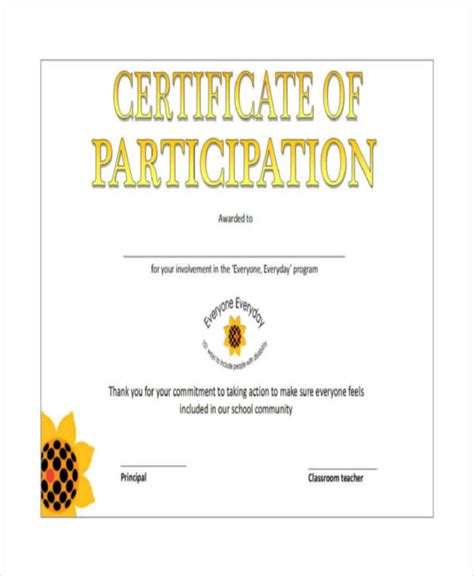 certificate of participation template pdf certificate of participation template 7 free word pdf