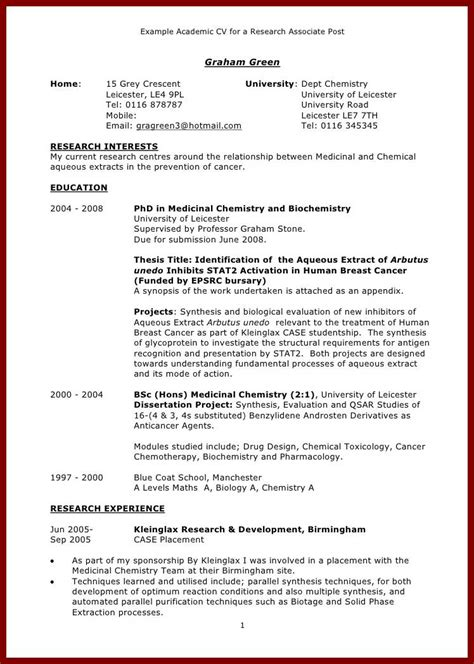Curriculum Vitae Exle For Graduate School Applicant How To Write Curriculum Vitae For Graduate School