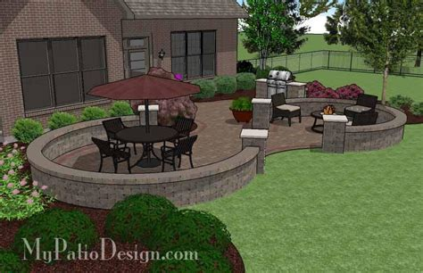 Large Patio Designs Large Curvy Patio Design With Grill Station Seat Walls
