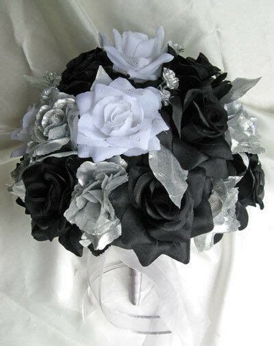 21pc bouquet wedding flower black white silver ebay