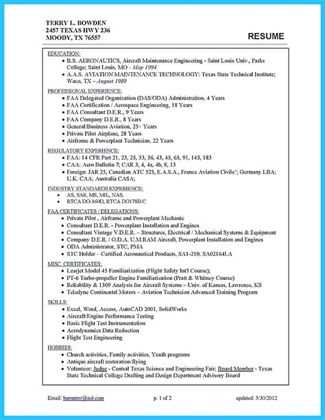 Aeronautical Engineering Resume Sles Learning To Write A Great Aviation Resume