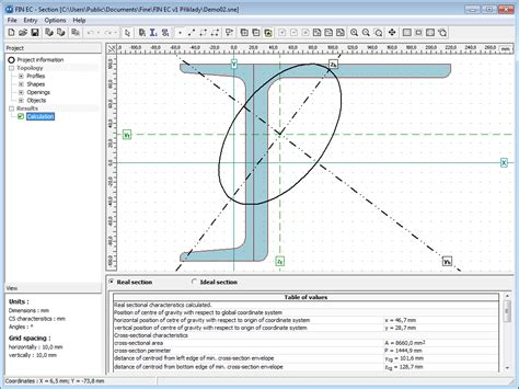 cross sectional profile section calculation of cross sectional characteristics