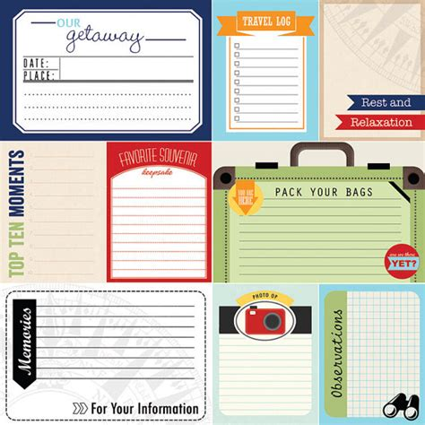 printable travel journal cards travel journal cards digital scrapbooking by