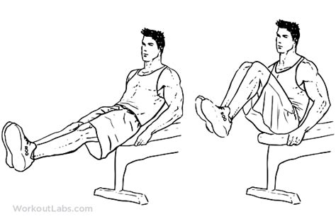 seated bench leg pull ins flat bench knee ups workoutlabs