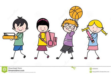 imagenes niños que van ala escuela ni 241 os que van a la escuela ilustraci 243 n del vector imagen