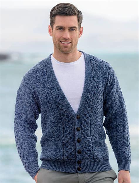Blue And White Striped Rugs Uk Aran Mens V Neck Cardigan Mens Chunky Knit Cardigan