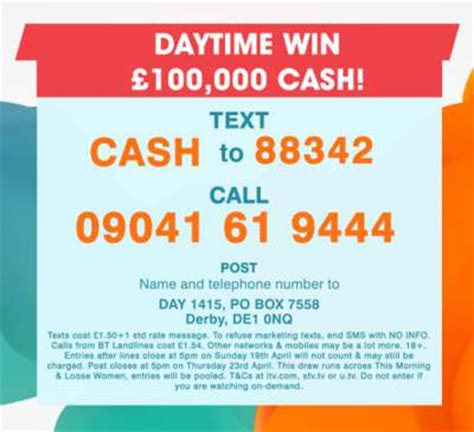 Free Competitions To Win Money Uk - loose women competition win 163 100 000 cash expired free entry tv competitions uk