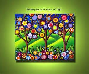 spring painting ideas fun funky flowers trees colorful spring painting canvas