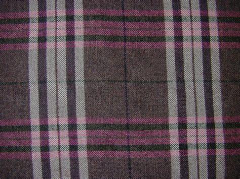 Tartan Plaid Check Chenille Pink Aubergine Curtain Fabric