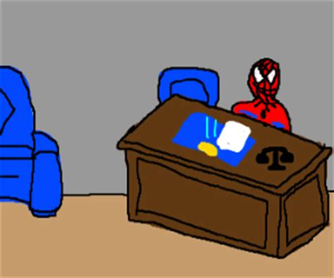 Spider Sitting At Desk by Sitting Desk In Office