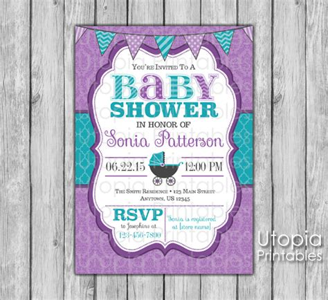 Purple And Teal Baby Shower Invitations by Purple And Teal Baby Shower Invitations Sorepointrecords