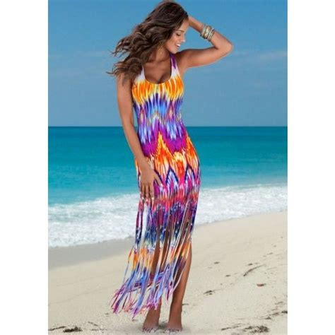 Bright Fringe Maxi Dress - venus bright fringe maxi dress 29 liked on polyvore