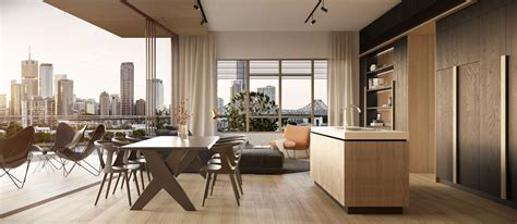interior style of luxury apartment in brisbane design maxwell apartments marc co brisbane architects