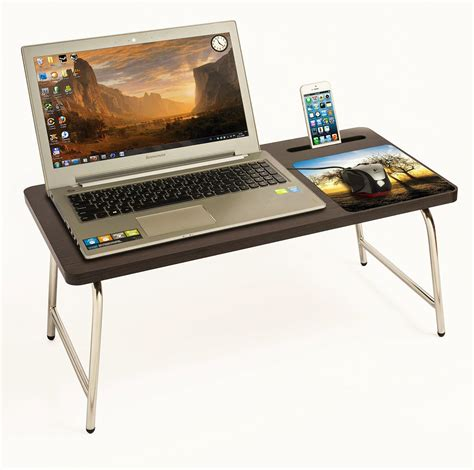 bed computer table riona bluewud bed laptop table with inbuilt mobile stand