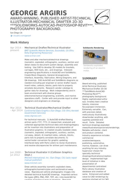 Mechanical Drafter Sle Resume by Mec 226 Nico Exemplo Cv Visualcv Retomar Amostras De Banco De Dados