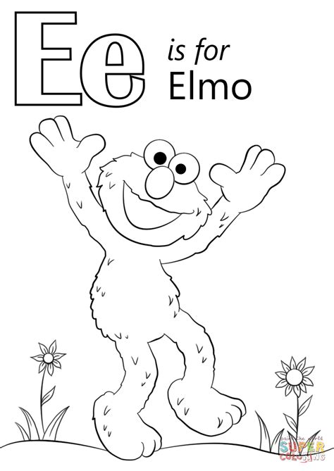 coloring pages of letter e letter e is for elmo coloring page free printable