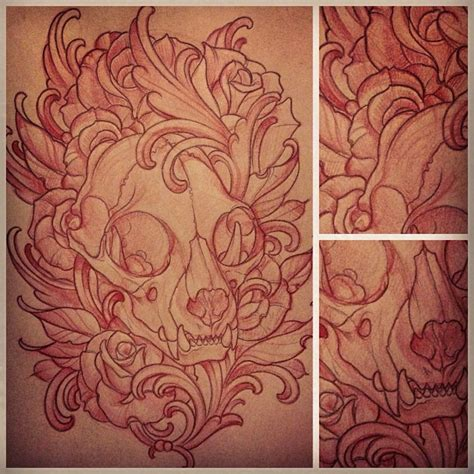skull art nouveau custom tattoo sketch by terry ribera