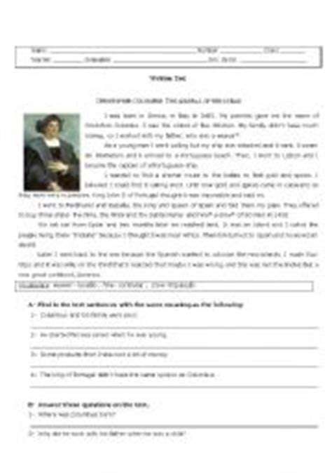 christopher columbus printable biography christopher columbus worksheets christopher columbus quot quot sc