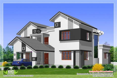 Different Home Design Types | 2912 sq feet 5 diffrent type house designs kerala home