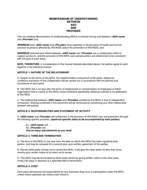 Memo Of Understanding Template by Sle Memorandum Of Understanding Business Partnership