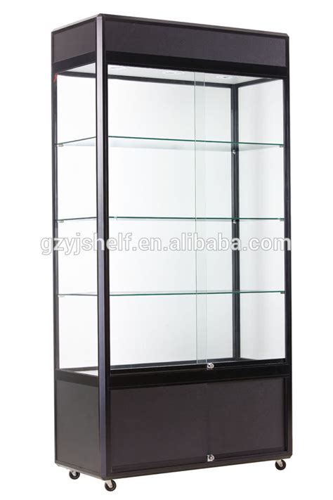 Etalase Aluminium 2 Meter wall mount aluminium glass counter glass display locks with four wheels black arylic glass