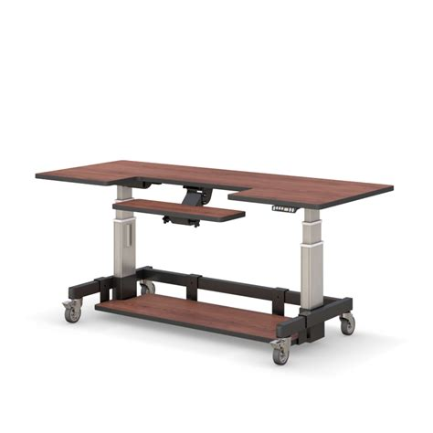 adjustable height rolling computer desk afcindustries