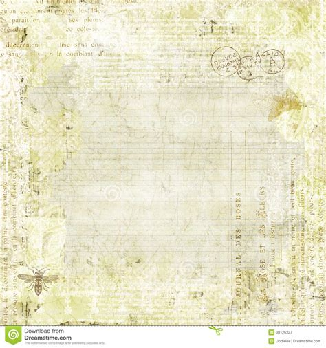 green shabby chic background with butterflies stock