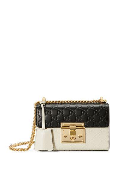Gucci Mini Padlock gucci padlock mini ssima colorblock shoulder bag white black modesens