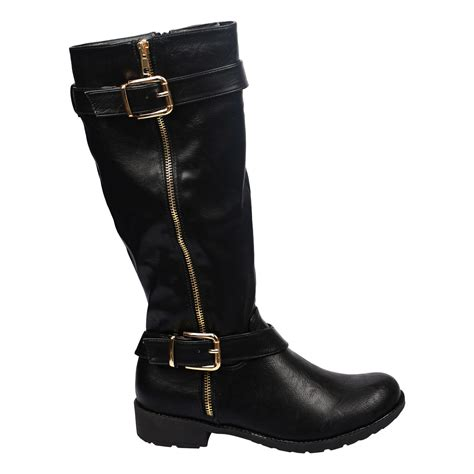 womens biker boots with heels womens low heels mid calf biker style quilted