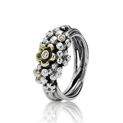 Silver ring, 14k, 0.04ct TW h/vs diamonds   190245D   Rings   PANDORA