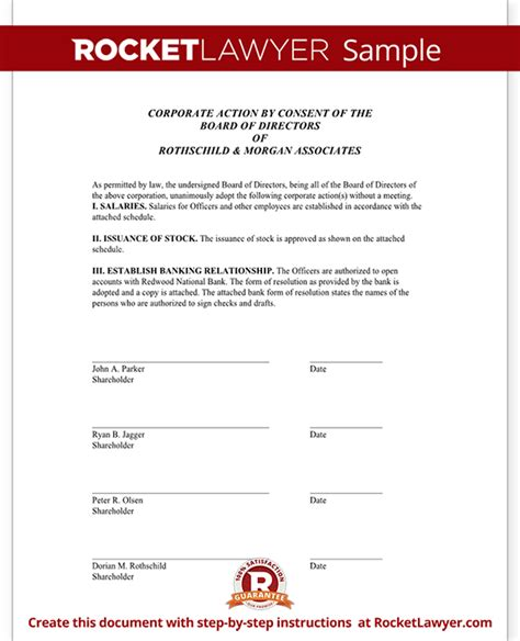 Unanimous Consent Agreement Unanimous Written Consent Email Consent Template